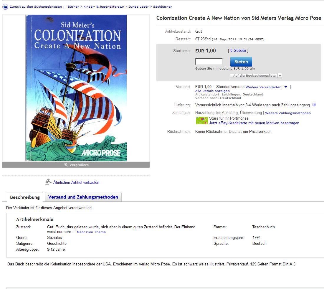 Colonization-Sachbuch bei eBay