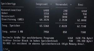 616k freier konventioneller Speicher DOS 6.22